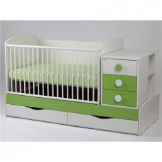 Patut Transformabil Silence Alb-Verde Cu Leg 5241 - Patut lemn pentru bebelusi MyKids