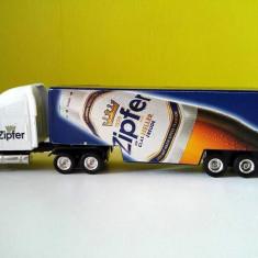 Macheta / jucarie masinuta de metal camion cu remorca TIR, masina publicitara