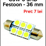 BEC AUTO LED SMD C5W 6 SMD 36mm ALB PLAFONIERA, Universal