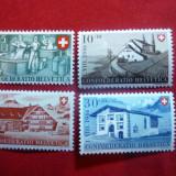 Serie Confederatia Elvetiana - Arhitectura Cabane 1946 Elvetia, 4 valori, Nestampilat