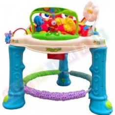 Rainforest Pat Walker - Jumperoo / Activity Center (cu scaun rotativ) - Jucarie interactiva, 9-12 luni, Unisex, Rosu, Plastic