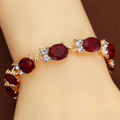 Bratara cu aur 14kt Gold pietre naturale Rubine si zirconia Ruby Bracelet - Bratara aur, Culoare Aur: Galben