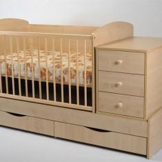 Patut Transformabil Mykids Silence Cu Leganare Natur - Patut lemn pentru bebelusi