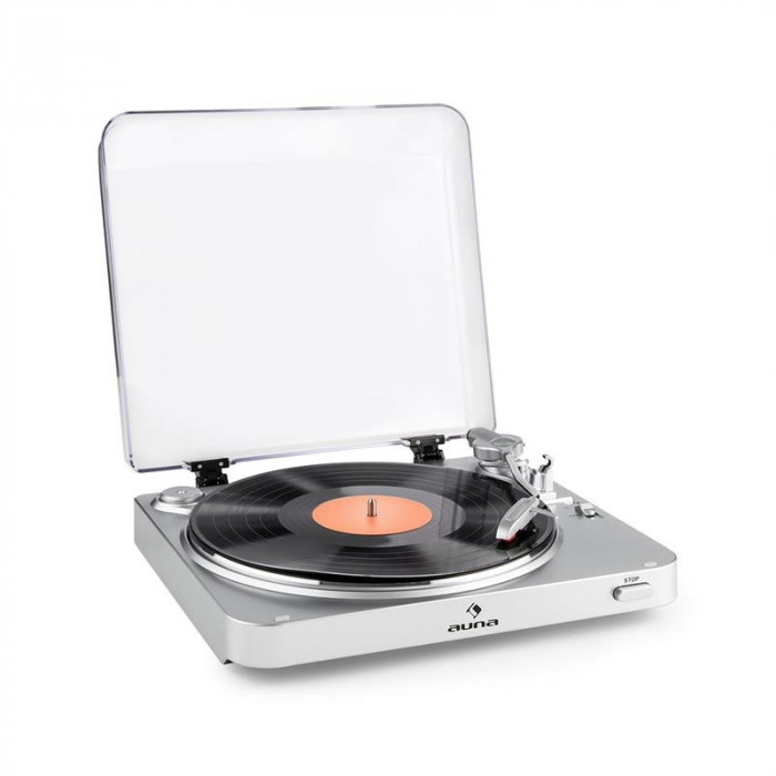 Auna TT-30 BT, gramofon argintiu, emițătoare Bluetooth, line-Out, Adaptor RCA USB foto mare