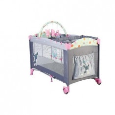 Patut Pliant Cu 2 Nivele Sleepwell Pink - Patut pliant bebelusi BabyGo