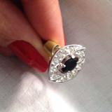 Inel placat cu aur alb si Swarovski negru- marimea 8, 18 mm - Inel placate cu aur