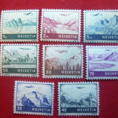 Serie Aviatie si peisaje 1941 Elvetia, 8 valori - Timbre straine, Nestampilat