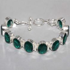 Bratara marcata 925 argint cu SMARALDE Gemstone Lungime=19cm - Bratara argint, Femei