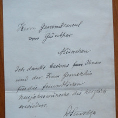 Bilet scris ologra de Dimitrie A. Sturdza, Munchen, fost Prim Ministru, 1 - Autograf