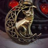 Pandantiv bronz Pisică pe lună - Pandantiv fashion