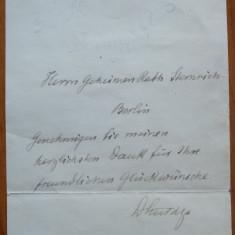 Bilet scris ologra de Dimitrie A. Sturdza, Munchen, fost Prim Ministru - Autograf