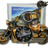 Ceas Motocicleta 3D cu Rama Foto - Ceas desteptator
