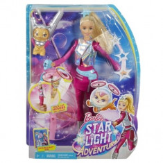 Papusa Barbie Star Light Adventure Barbie Doll & Flying Cat Mattel