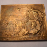 Placheta Regele Carol I - Regele vegheaza, Romania infloreste 1906 - Medalii Romania