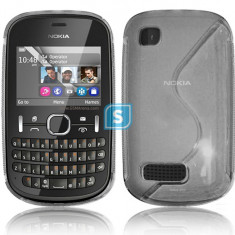 Husa Nokia Asha 200 TPU S-LINE Transparenta Mata - Husa Telefon Nokia, Gel TPU, Fara snur, Carcasa