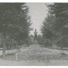 3697 - Teleorman, ALEXANDRIA, Cuza statue - old postcard real PHOTO - used 1935 - Carte Postala Muntenia dupa 1918, Circulata, Printata