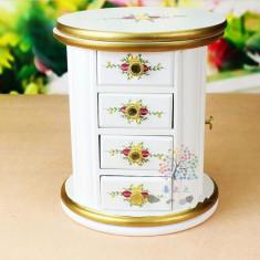 Caseta pentru bijuterii din lemn Dulap Rotativ - Cutie Bijuterii