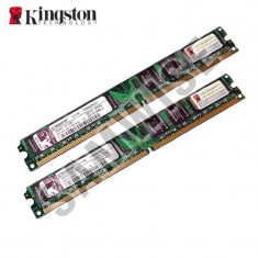 KIT Memorie 2 x 1GB DDR2 667MHz, PC2-5300, Kingston Slim...GARANTIE 2 ANI !!!! - Memorie RAM Kingston, 2 GB, Dual channel