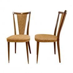 Pereche scaune din lemn de nuc, Franta, anii '70