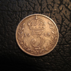 Marea Britanie (Anglia) _ 3 pence _ 1919 argint, Europa