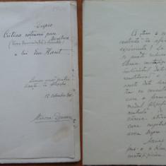 Manuscris Mircea Djuvara semnat de Titu Maiorescu si Mihail Dragomirescu , 1908