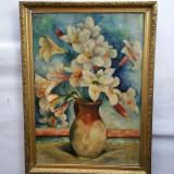VERONICA CONSTANTINESCU- Vas cu crini - ulei /carton (Eleva lui N.Tonitza -1936), Flori, Realism