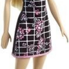Papusa Barbie Fashion Doll Black Dress With Pink Flowers Mattel