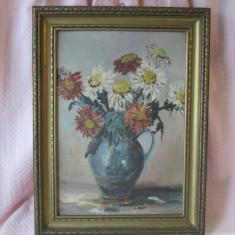 Tablou inramat ulei pe carton Ghiveci cu flori, tablou ulei pe placaj lemn