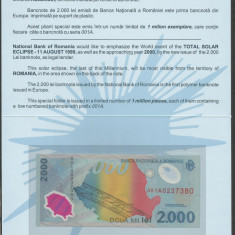 ROMANIA  2000  2.000 LEI  1999   ECLIPSA  in FOLDER  BNR  ,  UNC , necirculata