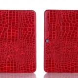Samsung Tab 4 10.1 Case Luxury Crocodile Red Leather