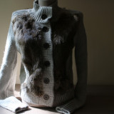 Jacheta Vanilia super chic, blana naturala de iepure, alpaca si lana - Pulover dama, Marime: M, Culoare: Greige, Cardigan, Piele