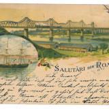 1308 - L i t h o, Dobrogea, CERNAVODA, Bridge, ship - old postcard - used - 1899
