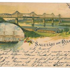 1308 - L i t h o, Dobrogea, CERNAVODA, Bridge, ship - old postcard - used - 1899 - Carte Postala Dobrogea pana la 1904, Circulata, Printata
