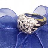 Inel Placat cu aur alb si Swarovski -marimea 8, 18 mm - Inel placate cu aur