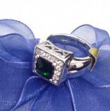 Inel -placat cu aur alb 18k si cristal zirconia-Swarovski verde - marimea 8