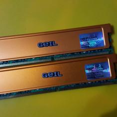 Kit 2GB DDR2 Desktop, 1GBx2, Geil, 800Mhz, PC2-6400, CL4, Radiator - Memorie RAM Geil, Dual channel