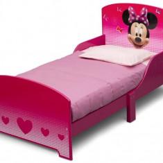 Pat cu cadru din lemn Disney Minnie Mouse - Pat tematic pentru copii, 140x70cm, Roz