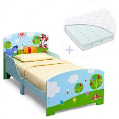 Set pat cu cadru din lemn Disney Winnie si saltea pentru patut Dreamily - 140 x 70 x 10 cm - Pat tematic pentru copii, 140x70cm, Albastru