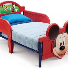 Pat cu cadru metalic Disney Mickey Mouse 3D - Pat tematic pentru copii, 140x70cm, Rosu