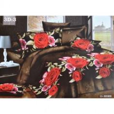 Lenjerie de pat 3D din bumbac satinat