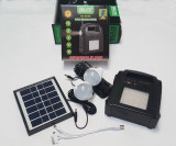 Kit Panou Solar 2 Becuri incarcare telefon Radio USB MP3 lanterna lampa  GD8052