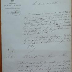 Societ. Transilvania pt. ajutorul studentilor romani, Viena, 1869, scrisoare