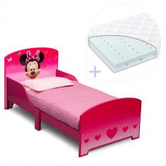 Set pat cu cadru din lemn Disney Minnie Mouse si saltea pentru patut Dreamily - 140 x 70 x 10 cm - Pat tematic pentru copii, 140x70cm, Roz
