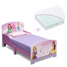 Set pat cu cadru din lemn Disney Princess Friendship si saltea pentru patut Dreamily - 140 x 70 x 10 cm - Pat tematic pentru copii, 140x70cm, Roz