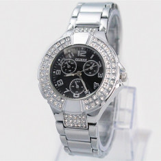 CEAS DAMA GUESS PREMIUM MULTIZONE SILVER&BLACK EDITION-SUPERB-CALITATE-SUPERB !!, Fashion, Quartz, Inox, Rezistent la apa