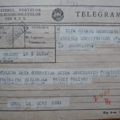 Telegrama a lui Mihail Sadoveanu catre Congresul Scriitorilor Sovietici, 1954