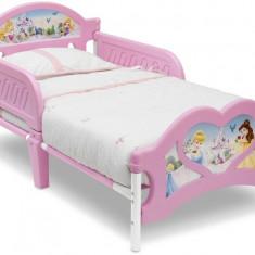 Pat cu cadru metalic Disney Princess - Pat tematic pentru copii, 140x70cm, Roz