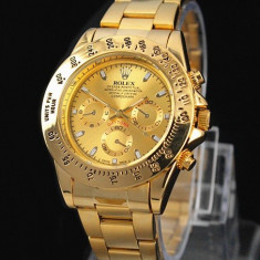 CEAS ROLEX DAYTONA OYSTER PERPETUAL-GOLD-SUPERB-PRET IMBATABIL-CALITATEA 1-SALE - Ceas barbatesc Rolex, Elegant, Quartz, Placat cu aur, Rezistent la apa