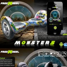 HoveBoard Freewheel MONSTER SMART - GRAFFITI GALBEN - Hoverboard