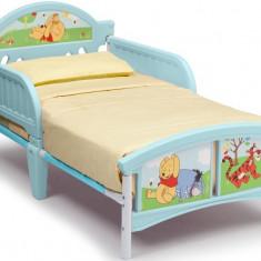 Pat cu cadru metalic Disney Winnie the Pooh - Pat tematic pentru copii, 140x70cm, Albastru